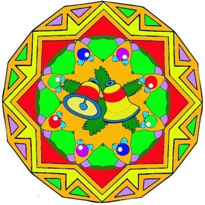 Mandalas navideñas a color