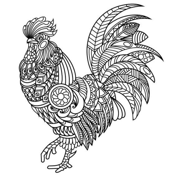 gallo mandala animales para colorear