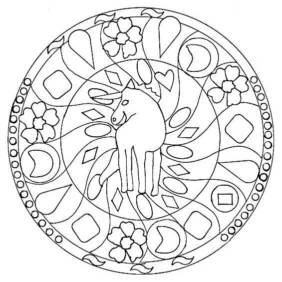 mandala con un unicornio