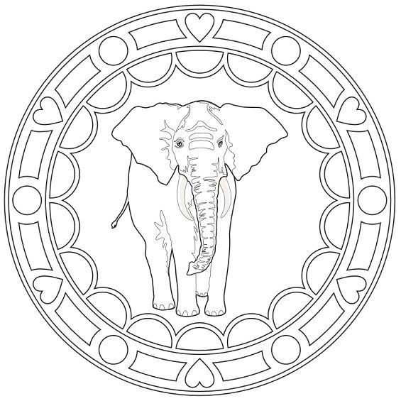 mandala de animales con un elefante