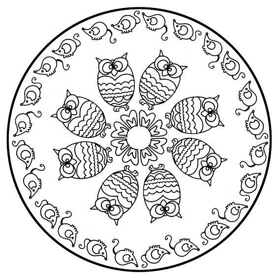 mandala de animales con varios buhos