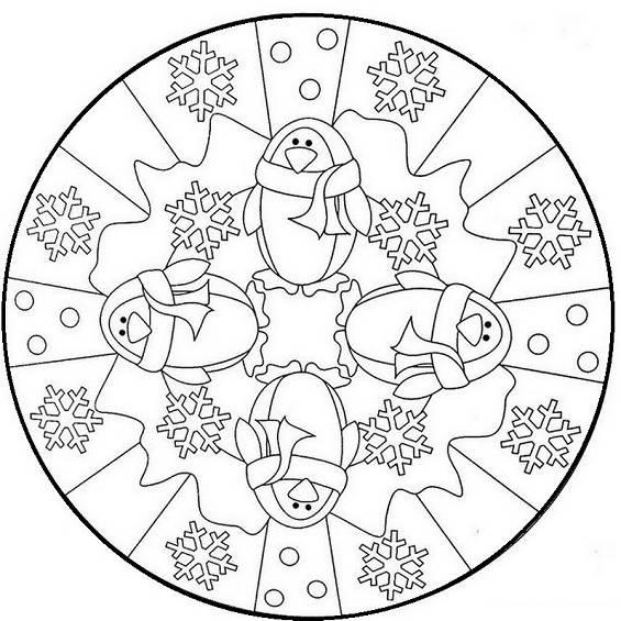 mandala navideño para colorear e imprimir