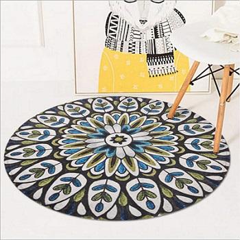 Alfombra redonda con diseño de mandalas