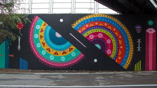 Mandala pintada en una pared