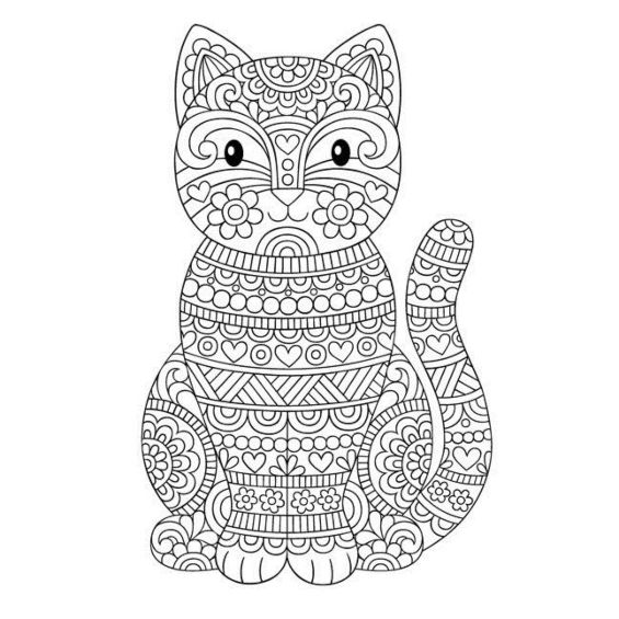 gatito mandala para colorear