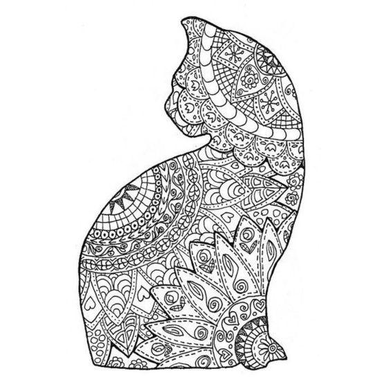 gatito mandala para pintar