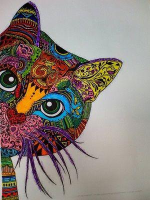 gato mandala coloreado asomando