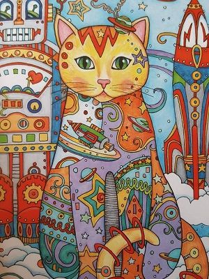 gato mandala coloreado multicolor