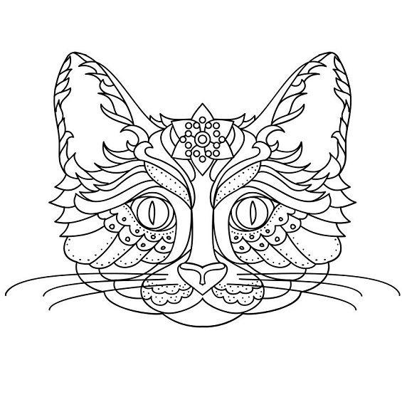 gato mandala con bigote