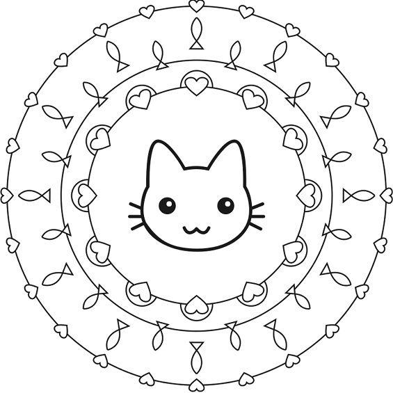 gato mandala muy facil de colorear