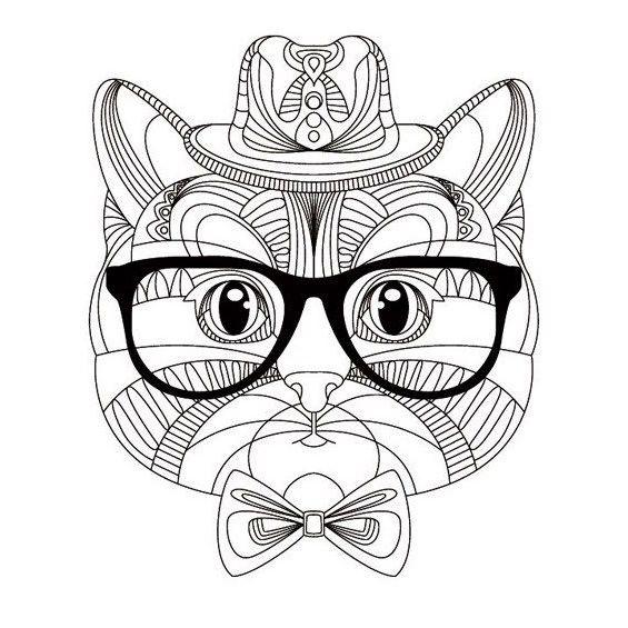 gato mandala para colorear con gafas