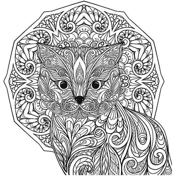 gato y mandala para colorear
