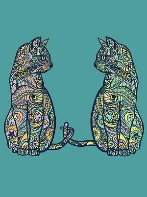mandala de dos gatos coloreados