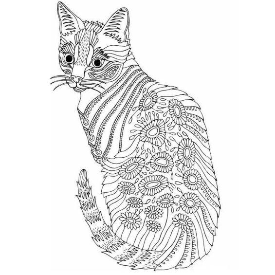 mandala de gatito para colorear