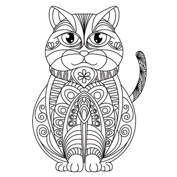 mandala de gatito para pintar