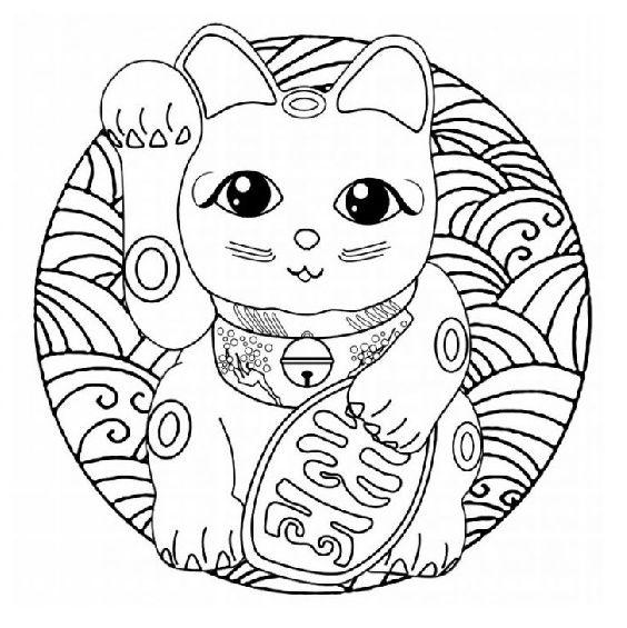 mandala de gato sencillo para colorear