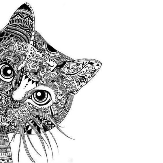 mandala de un gatito asomandose