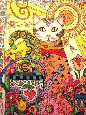mandala de un gato coloreado