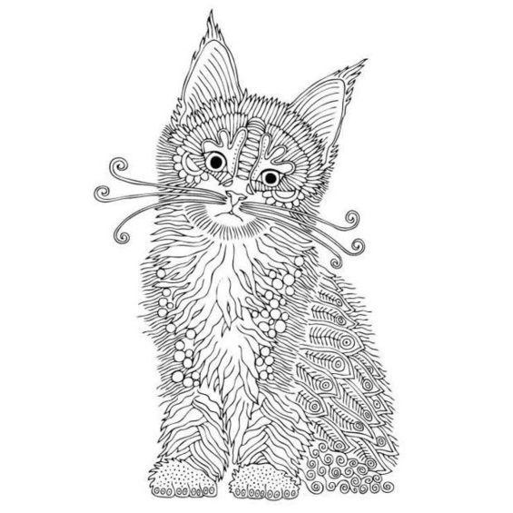 mandala de un gato con la cabeza torcida