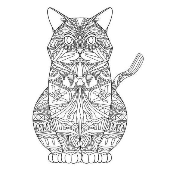 mandala de un gato con los ojos cerrados