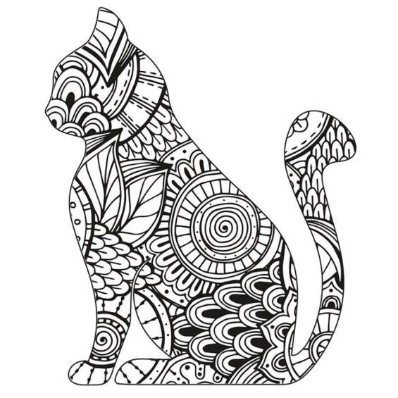 mandala de un gato de perfil