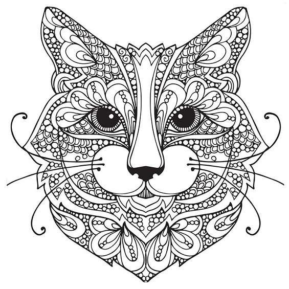 mandala de un gato para colorear e imprimir
