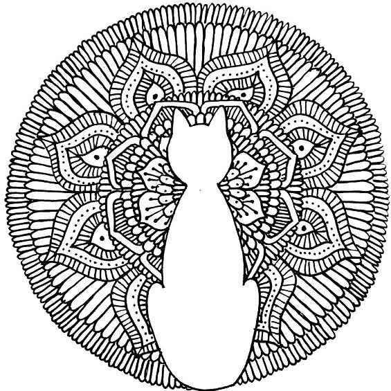 mandala de un gato para colorear imprimir