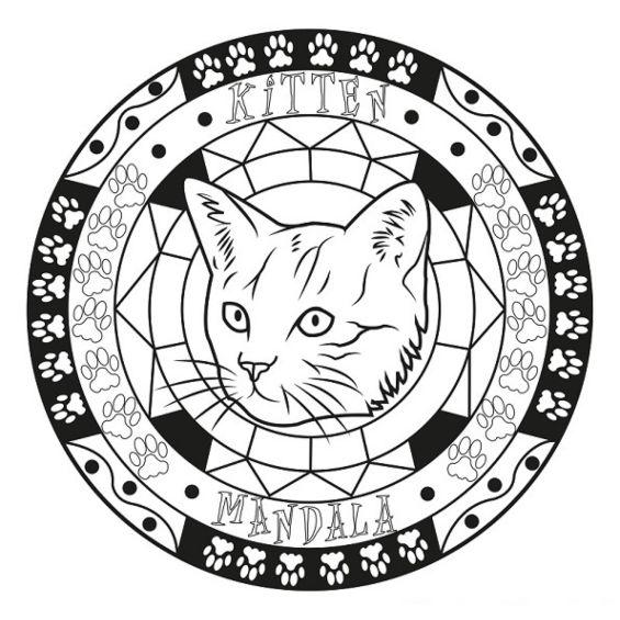 mandala de un gato para colorear