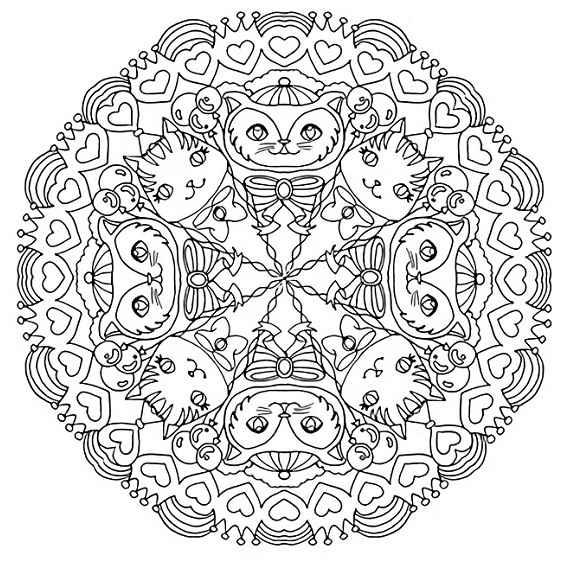 mandalas de gatos para colorear