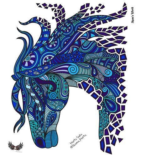 caballo mandala a color