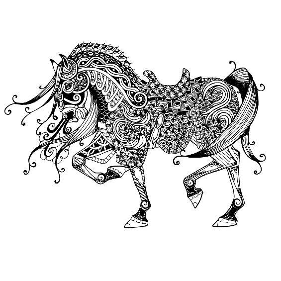 caballo mandala para pintar