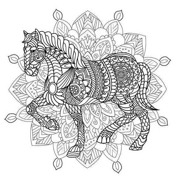 caballos mandalas para pintar