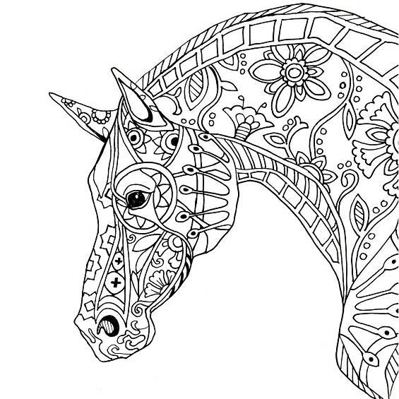 cabeza caballo mandala para colorear