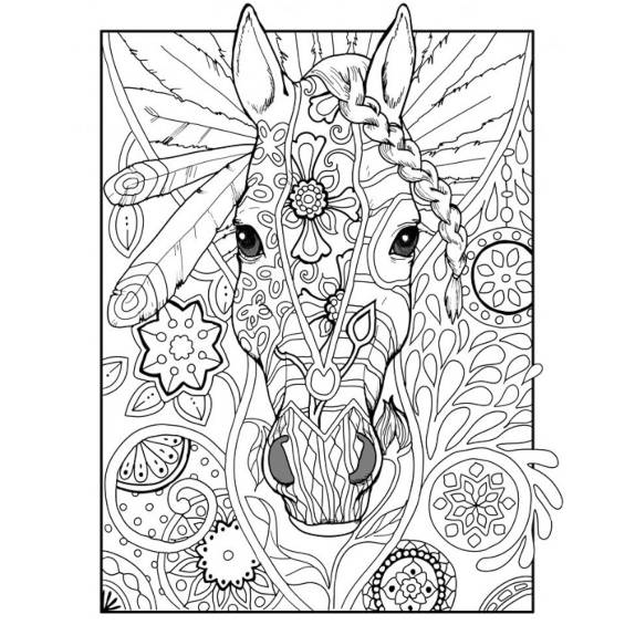 cabeza caballo mandala para pintar