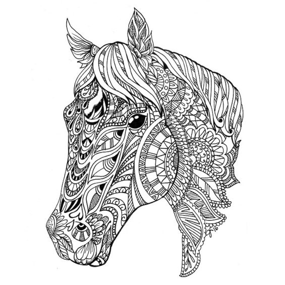 cabeza de caballo mandala para pintar