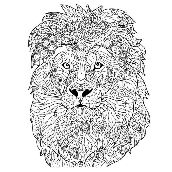 leon mandala para colorear