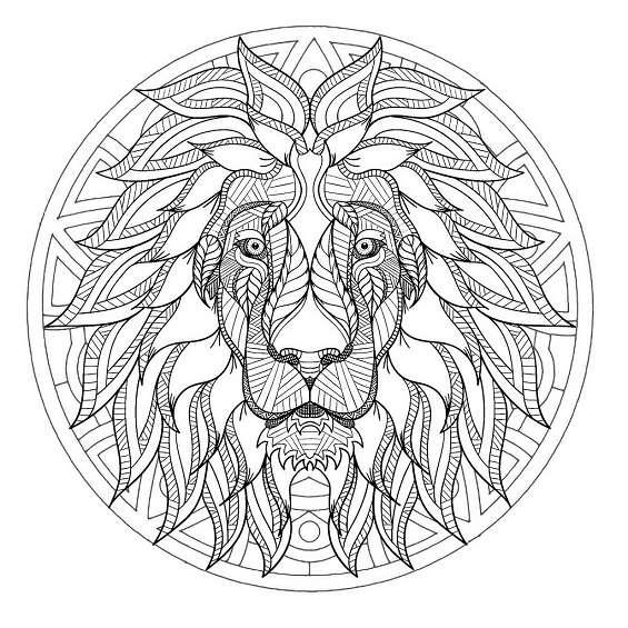 leones mandalas para colorear e imprimir
