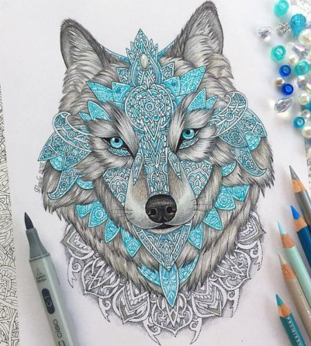 lobo mandala coloreado