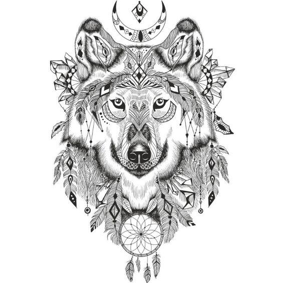 lobo mandala con muchos detalles