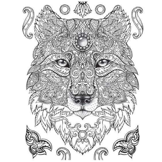 lobo mandala para colorear e imprimir