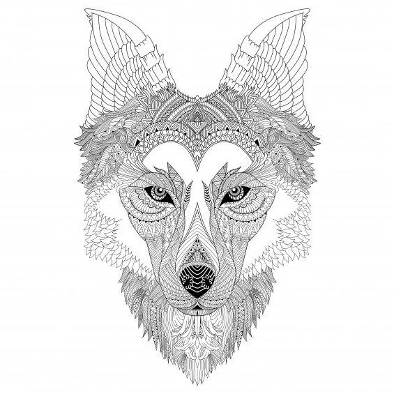 lobo mandala para colorear