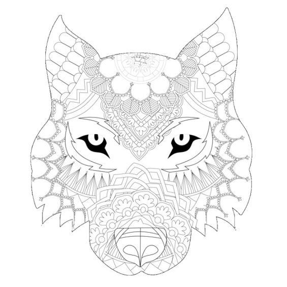 lobo mandala para imprimir