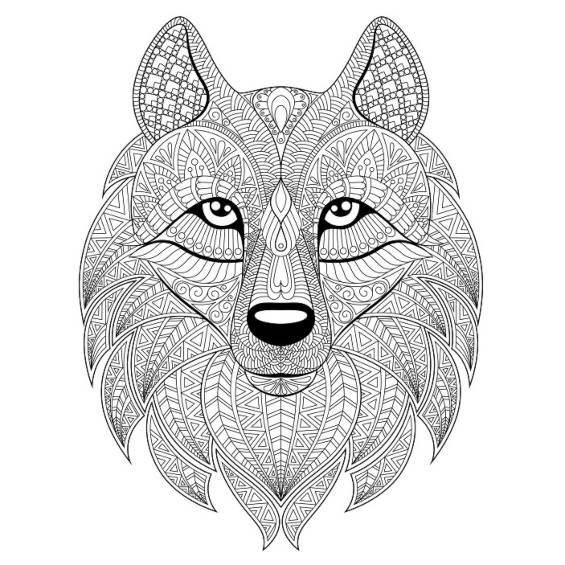 lobo mandala para pintar