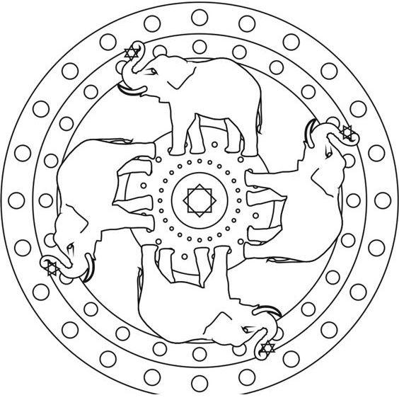 mandala con elefantes facil para colorear