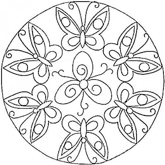mandala con mariposa para pintar