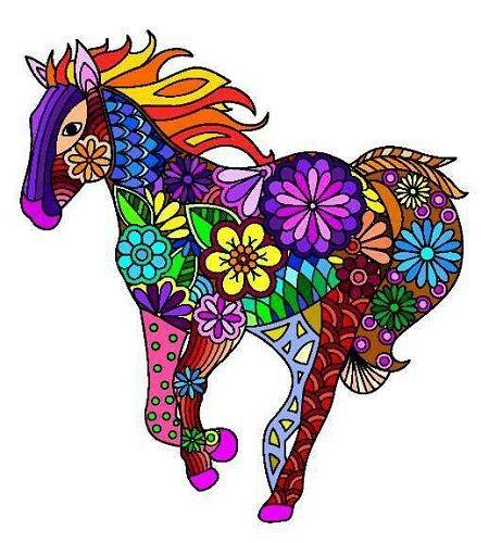 mandala de caballo a color
