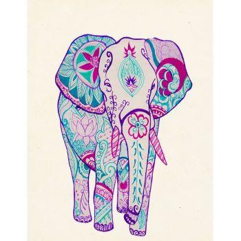 mandala de elefante a color
