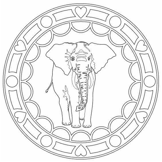 mandala de elefante facil para pintar