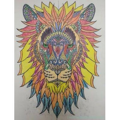 mandala de leon a color