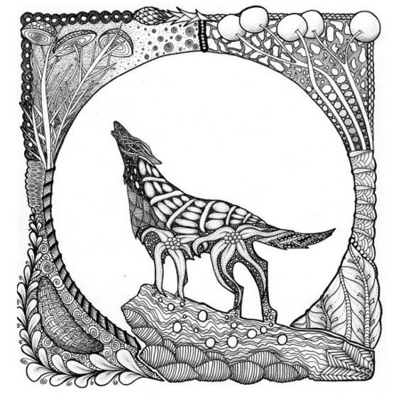 mandala de lobo aullando